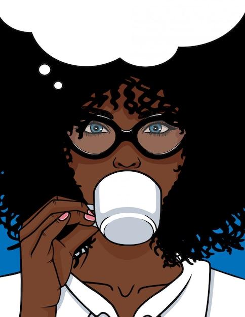 Femme, Boire, Café Vecteur Premium