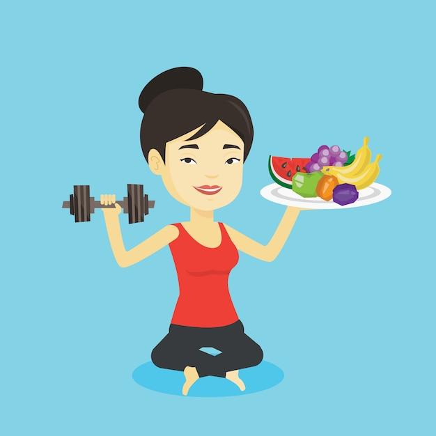 Femme En Bonne Santé Avec Des Fruits Et Des Haltères. Vecteur Premium