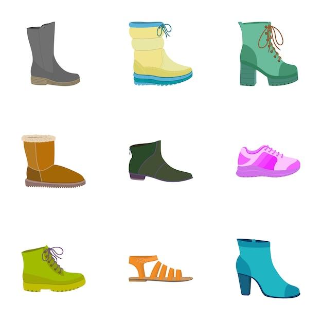 Femme boutique chaussures icon set. ensemble plat de 9 icônes de chaussures de magasin femme Vecteur Premium