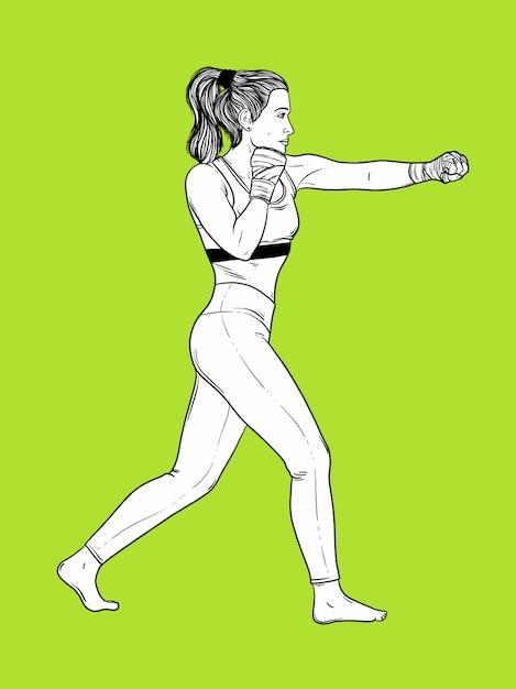 Femme boxe Vecteur Premium