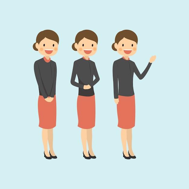 Femme de carrière professionnelle accueillant modérément et expliquant Vecteur Premium