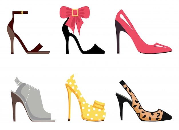 Femme chaussures ensemble d'illustrations isolées Vecteur Premium