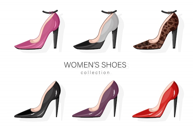 Femme chaussures pompes ensemble. Vecteur Premium