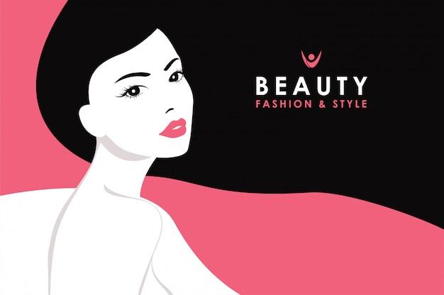 Femme cheveux noirs Vecteur Premium