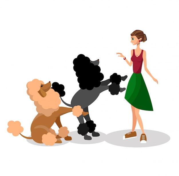Femme avec des chiens Vecteur Premium