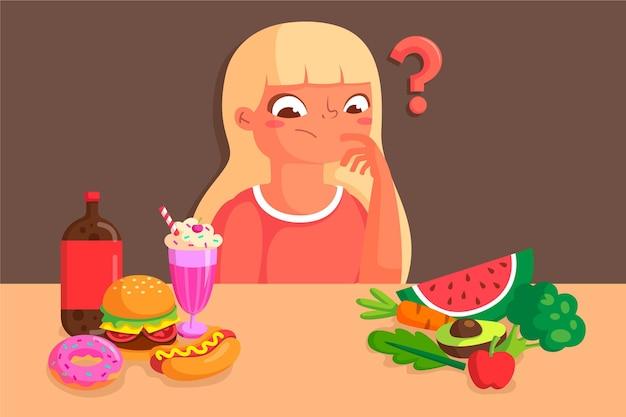 Femme Choisissant Entre Des Aliments Sains Ou Malsains Vecteur gratuit
