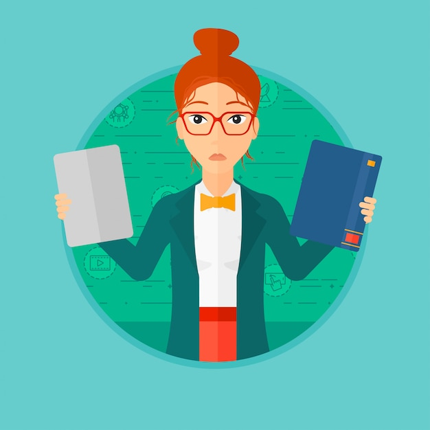 Femme choisissant entre livre et tablette. Vecteur Premium