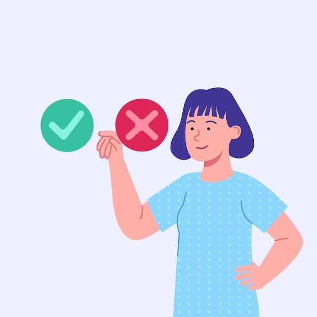 Femme Choisissant Oui Ou Non Illustration Plat Concept Vecteur Premium