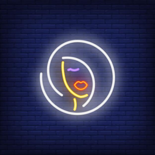 Femme coiffure logo au néon Vecteur gratuit