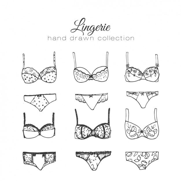 Femme collection d'éléments de lingerie Vecteur gratuit