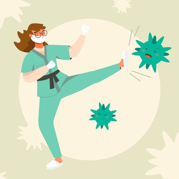 Femme, Combat, Virus, Concept Vecteur gratuit