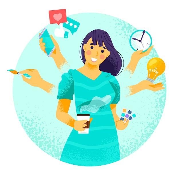 Femme Sur Le Concept Multitâche Vecteur gratuit