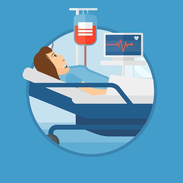 Femme Couchée Dans Un Lit D'hôpital. Vecteur Premium