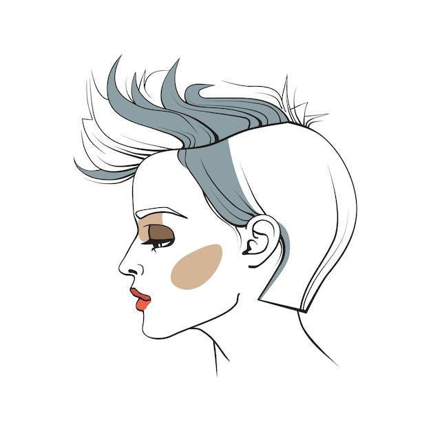 Femme avec coupe de cheveux à la mode Vecteur Premium