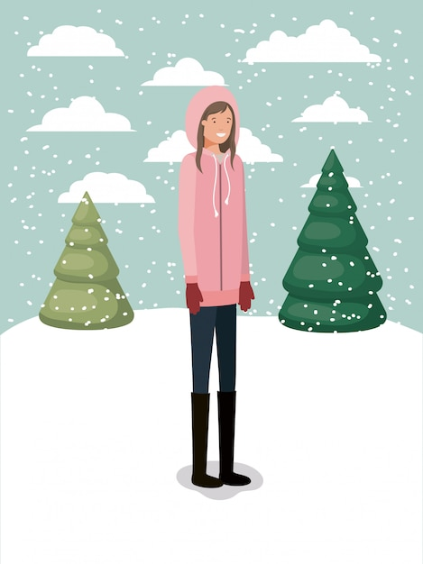 Femme dans le paysage de neige avec des vêtements d'hiver Vecteur Premium