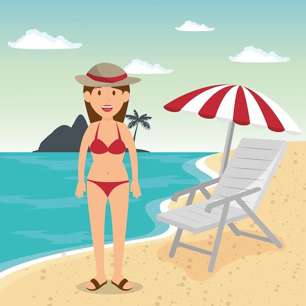 Femme dans le personnage de la plage Vecteur gratuit