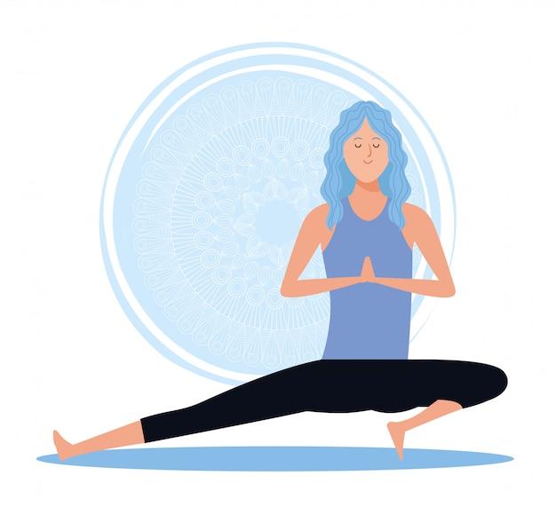 Femme, dans, yoga, pose Vecteur Premium