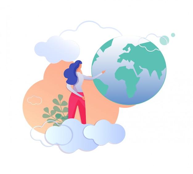 Femme debout à nuages pointant sur le globe terrestre. Vecteur Premium