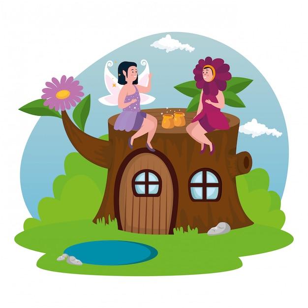 Femme, déguisé, fleur, à, fée, dans, scène, magie Vecteur gratuit