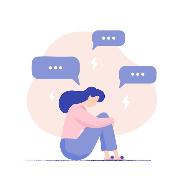Femme déprimée assise sur le sol, entourée de bulles de message et d'éclairs. harcelement sur internet. personnage féminin malheureux recevant des messages contextuels. problèmes dans les médias sociaux Vecteur Premium
