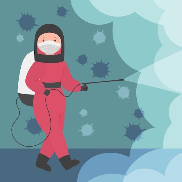 Femme De Désinfection Par Virus Avec équipement Vecteur gratuit