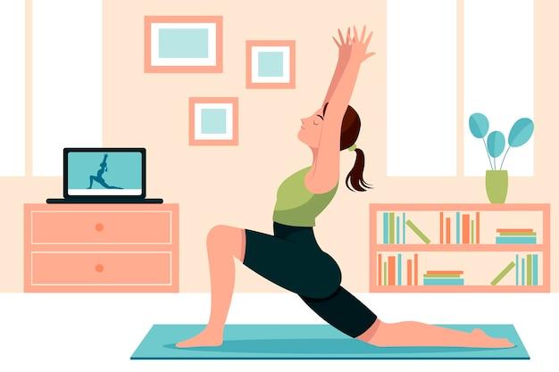 Femme Dessinée à La Main, Faire Du Yoga Illustration Vecteur gratuit