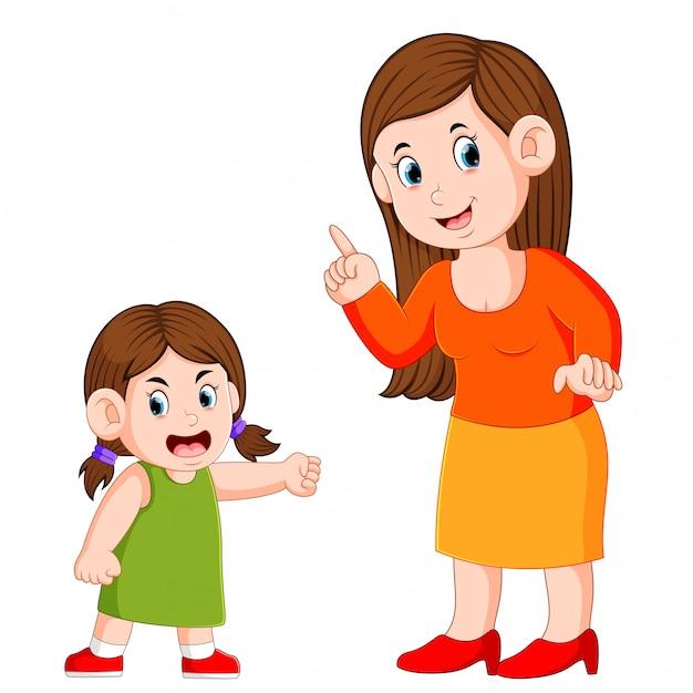 La femme dit quelque chose quand la fille est en colère Vecteur Premium