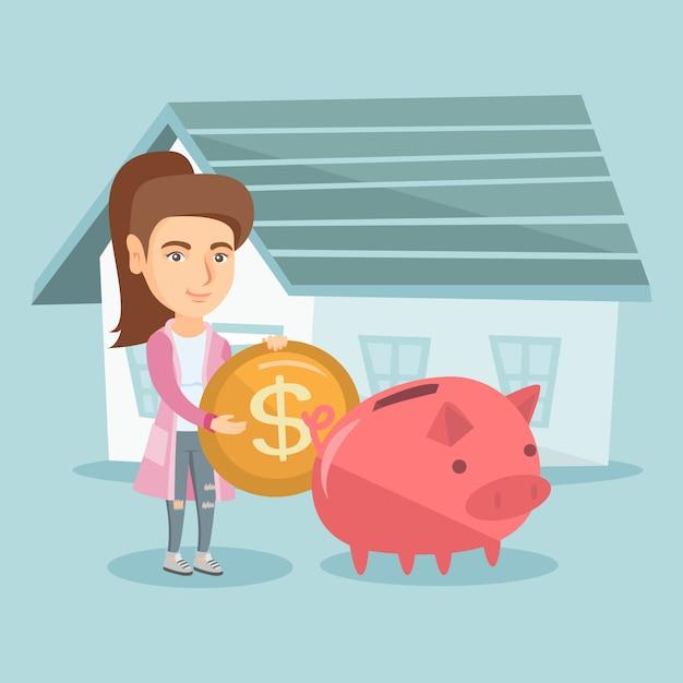 Femme économiser de l'argent dans la tirelire pour l'achat d'une maison. Vecteur Premium