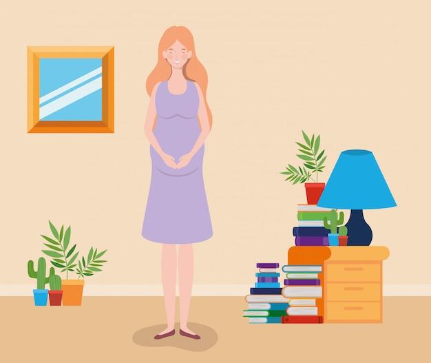Femme enceinte dans la scène de la maison Vecteur gratuit