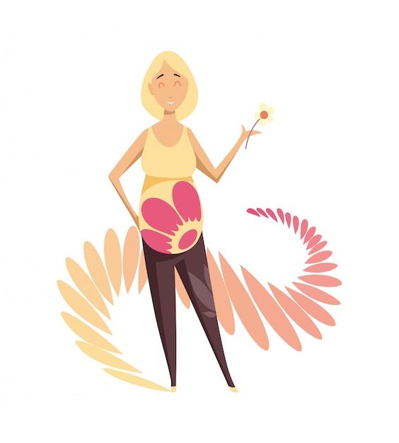 Femme enceinte avec fleur Vecteur Premium