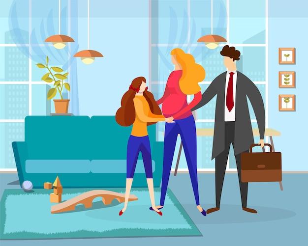 Une femme enceinte et une petite fille voient un homme au travail Vecteur Premium