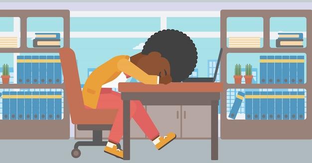 Femme endormie sur le lieu de travail Vecteur Premium