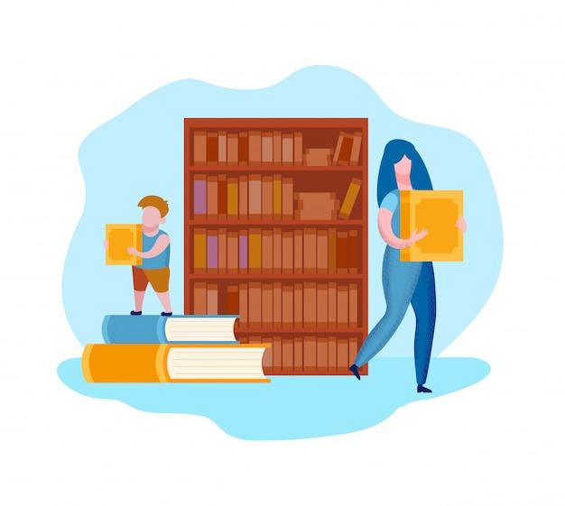 Femme Et Enfant Avec Des Livres Dans Les Mains Près De L'étagère Vecteur Premium