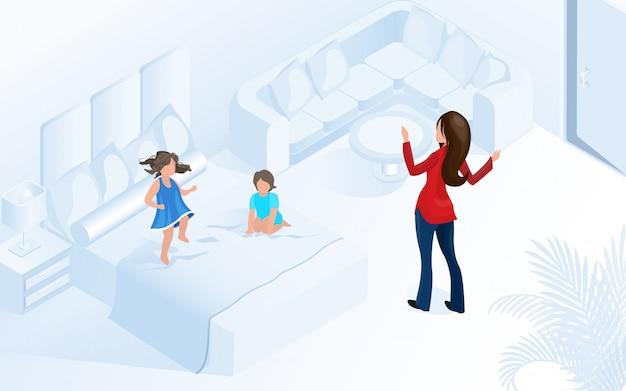Femme Avec Des Enfants Dans Une Chambre Moderne Et Confortable Vecteur Premium