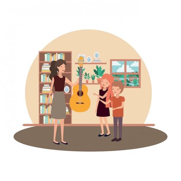 Femme avec enfants et personnage de guitare Vecteur Premium