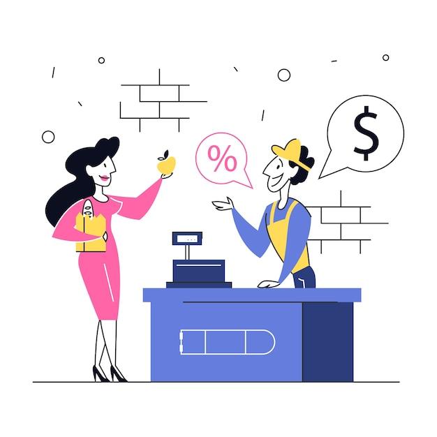 Une Femme à L'épicerie Se Tient à La Caisse Et Paie La Nourriture. Souriant Vendeur En Uniforme Au Comptoir. Illustration Vecteur Premium