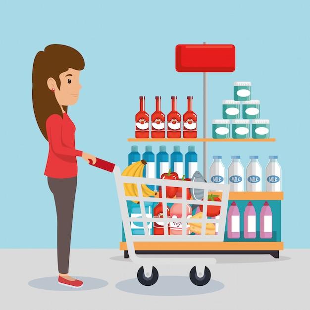Femme avec épicerie Vecteur gratuit