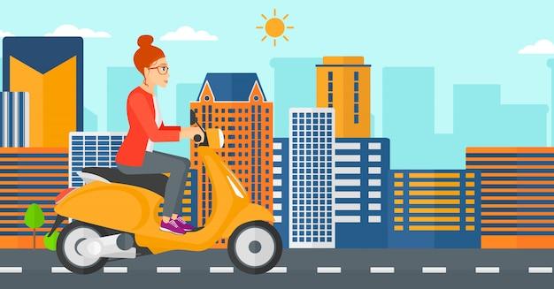Femme, équitation, scooter Vecteur Premium
