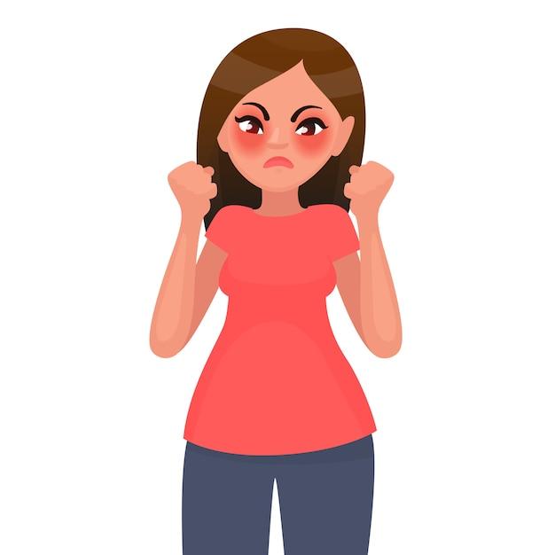 La Femme Est En Colère Et Mécontente. Illustration En Style Cartoon Vecteur Premium