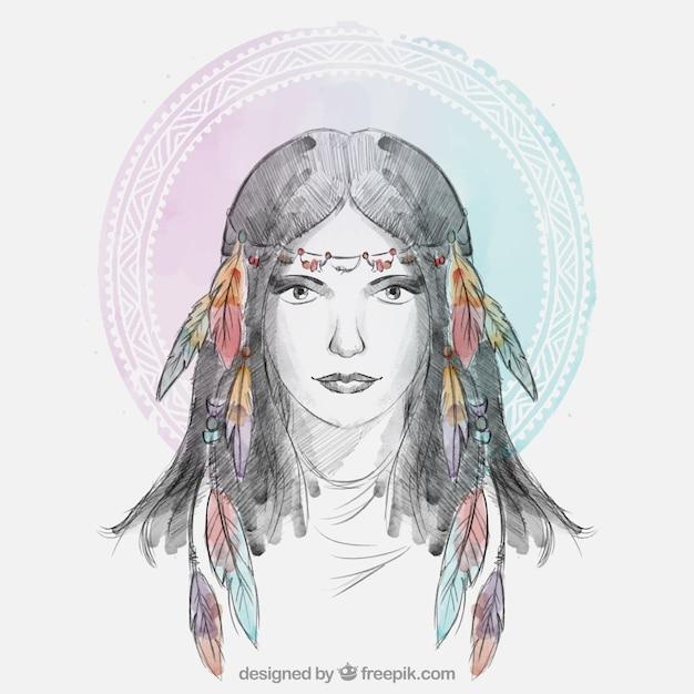 Femme ethnique avec des plumes hairband Vecteur gratuit