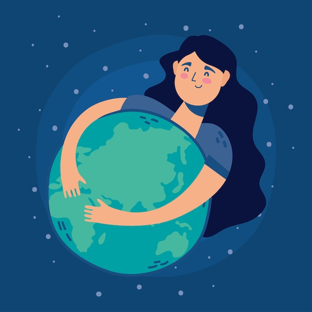 Femme, étreindre, Monde, Planète Terre Vecteur Premium