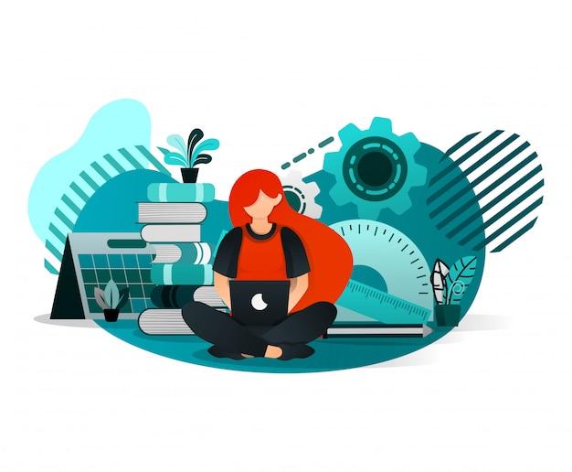 Femme étudiant avec un ordinateur portable Vecteur Premium