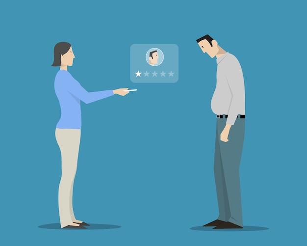 Femme évaluant L'apparence De L'homme En Choisissant Une étoile Vecteur Premium