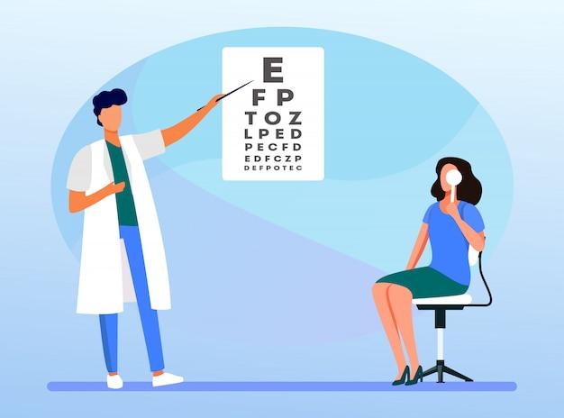 Femme Examinant Les Yeux Avec L'aide D'un Ophtalmologiste Vecteur gratuit