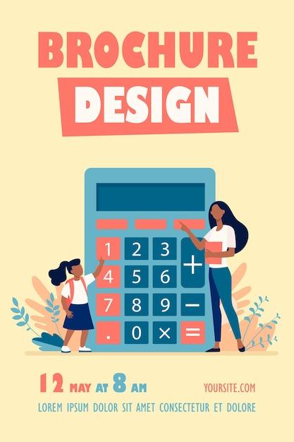 Femme Expliquant Comment Utiliser Le Modèle De Flyer De La Calculatrice Vecteur gratuit