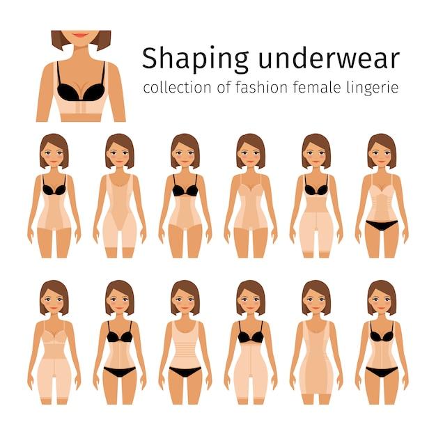 Femme en façonnage lingerie Vecteur Premium