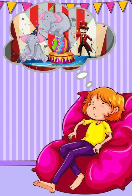 Femme faire la sieste sur un canapé Vecteur gratuit