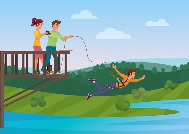 Femme faisant du saut à l'élastique avec des amis Vecteur Premium