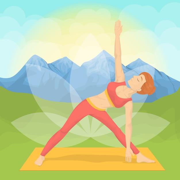 Femme Faisant Du Yoga Dans Les Montagnes. Méditation Et Relaxation. Vecteur Premium