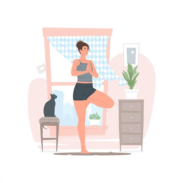 Femme Faisant Du Yoga Le Matin à La Maison Vecteur Premium